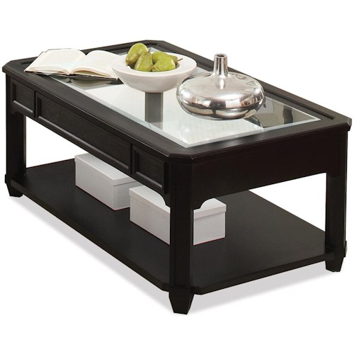 Riverside Furniture Farrington Rectangle Cocktail Table with Glass Top