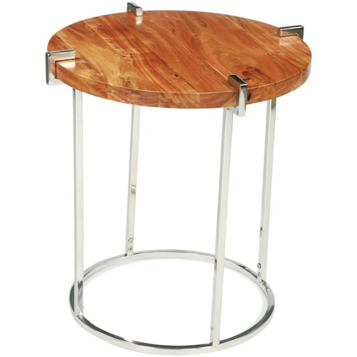 Riverside Furniture Forrester Round End Table in Glossy Acacia Finish