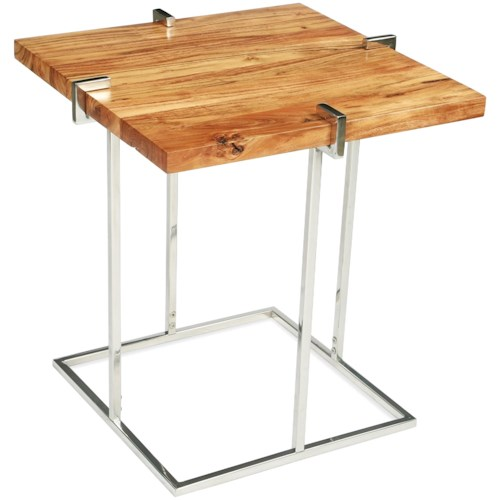 Riverside Furniture Forrester Square End Table in Glossy Acacia Finish