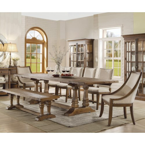 Riverside Furniture Hawthorne 8 Piece Table and Chair Set with Dining Bench