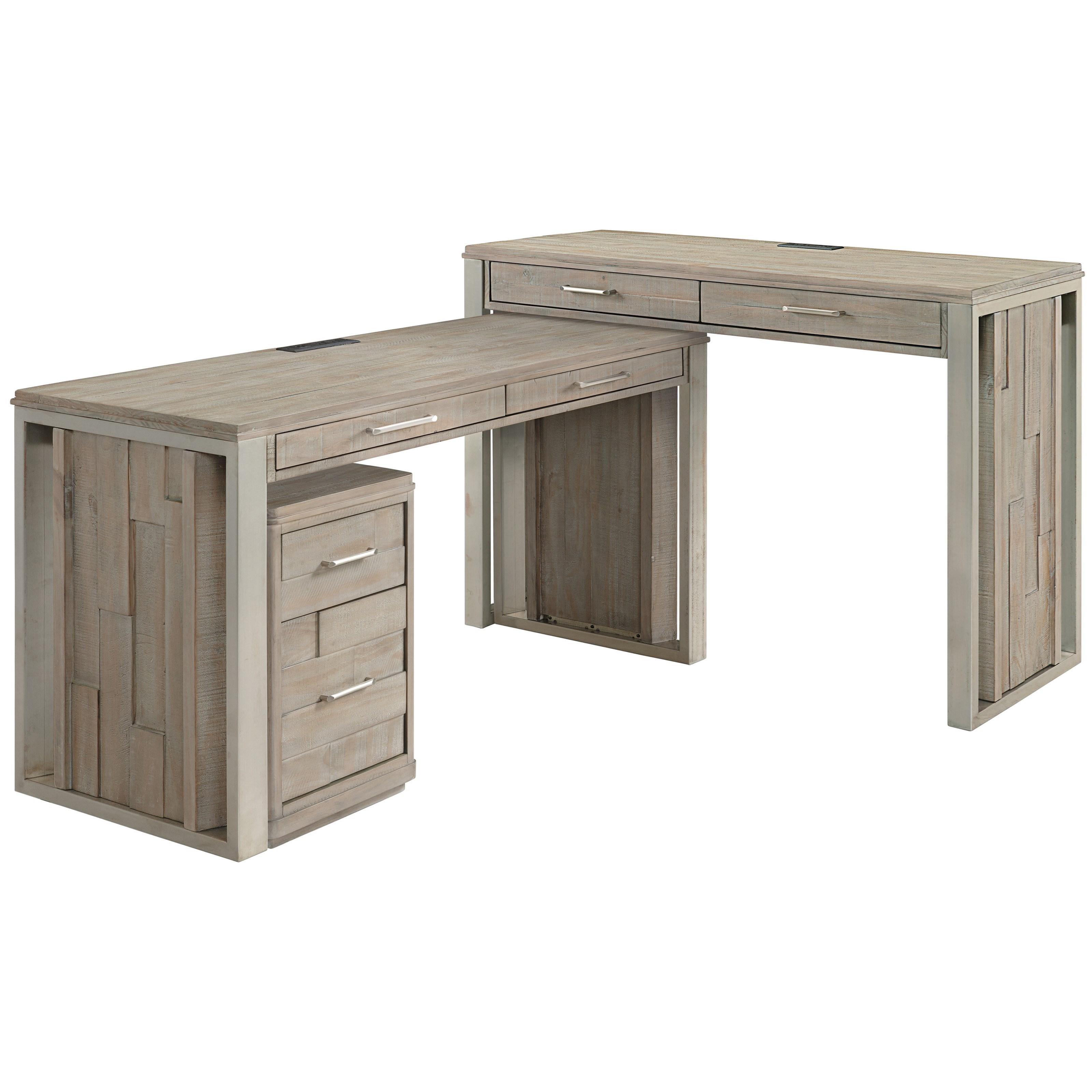 Contemporary Rustic Three-Piece L-Shaped Desk