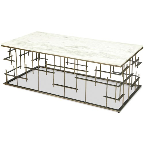 Riverside Furniture Jacquin Contemporary Rectangular Marble Coffee Table with Metal Base
