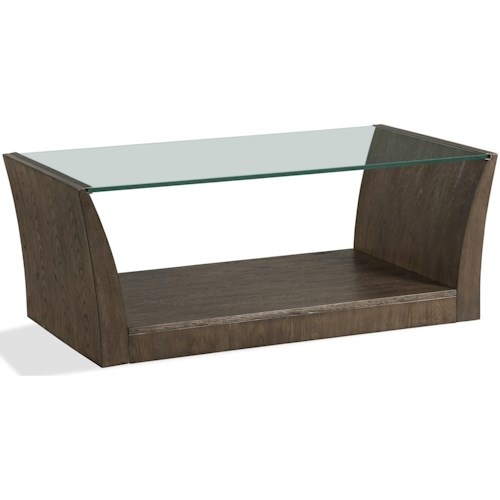 Riverside Furniture Joelle Rectangle Cocktail Table with Glass Top