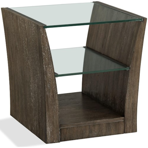 Riverside Furniture Joelle Rectangle End Table with Glass Top and Shelf
