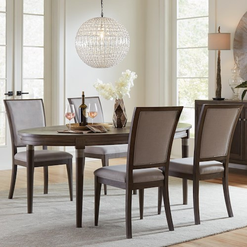 Riverside Furniture Joelle 5 Piece Oval Dining Table and Upholstered Chair Set