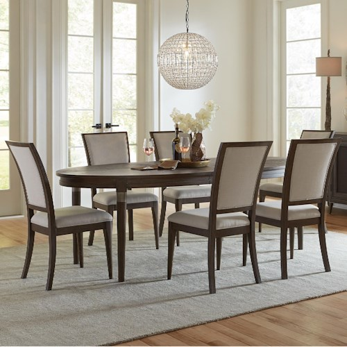 Riverside Furniture Joelle 7 Piece Oval Table and Upholstered Chair Set