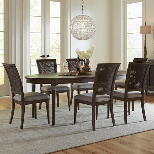 Riverside Furniture Joelle 7 Piece Oval Table and Woven Cane Chair Set