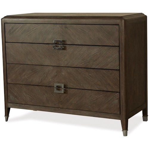 Riverside Furniture Joelle 4 Drawer Bachelors Chest with Unique Hardware