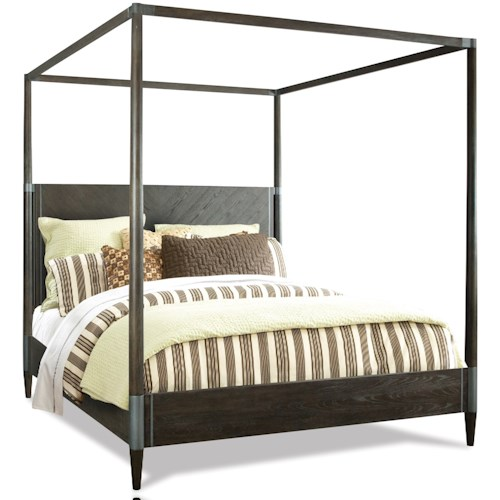 Riverside Furniture Joelle Queen Canopy Bed with Metal Accents
