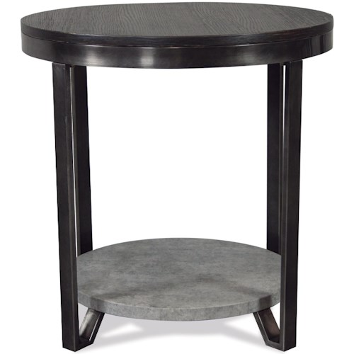 Riverside Furniture Jude Industrial Round End Table with Faux Concrete Shelf