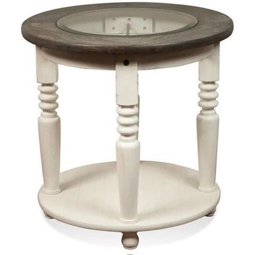 Riverside Furniture Juniper Round End Table with Beveled-Edge Glass Insert