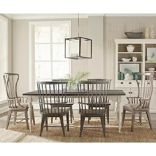 Riverside Furniture Juniper 7 Piece Leg Table and Windsor Chair Set