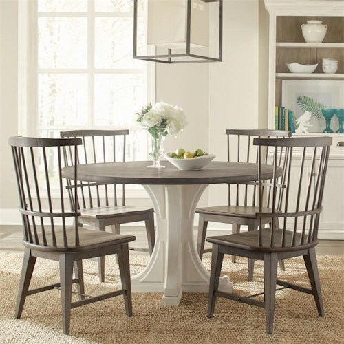 Riverside Furniture Juniper 5 Piece Round Table and Windsor Chair Set