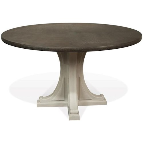 Riverside Furniture Juniper Round Pedestal Dining Table in Two-Tone Finish