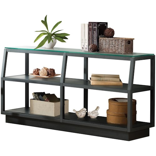 Riverside Furniture Kali 2 Shelf Console Table with Glass Top