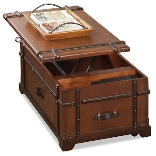 Riverside Furniture Latitudes Steamer Trunk Lift Top Cocktail Table