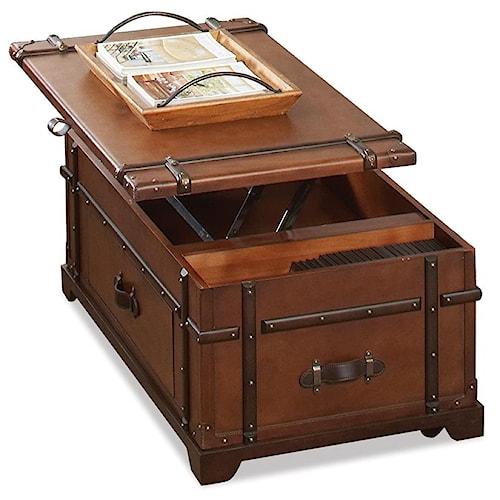 Riverside Furniture Latitudes Steamer Trunk Lift Top Cocktail Table