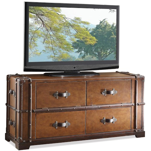 Riverside Furniture Latitudes 2 Drawer Steamer Trunk TV Console with 2 Drop Front Doors