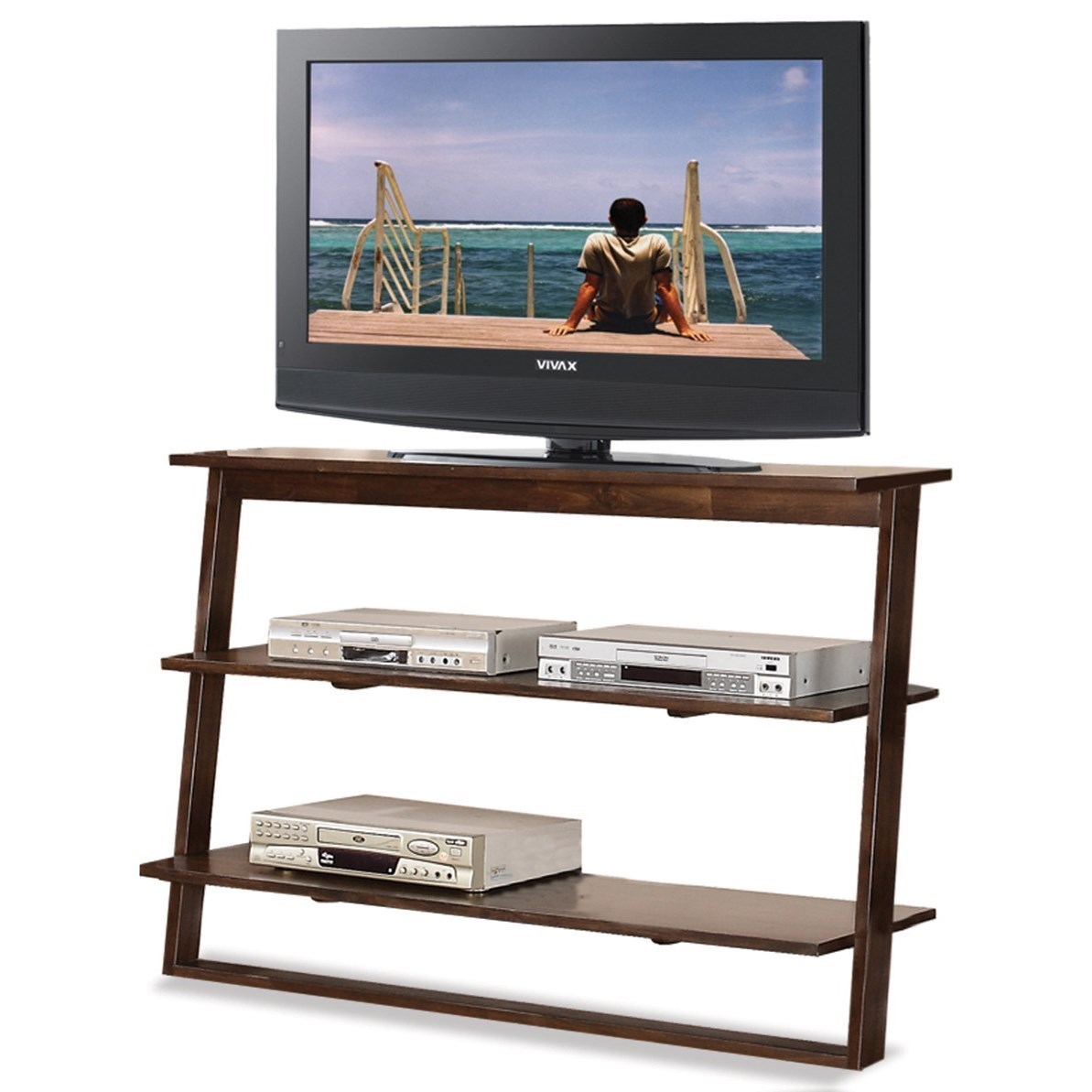 Attractive Riverside Furniture Lean Living Leaning TV Stand With 2 Shelves