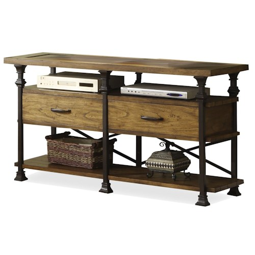 Riverside Furniture Lennox Street Console Table with Metal Legs