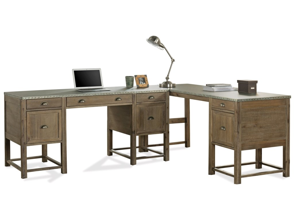best website 64125 0067c Liam Industrial L-Shaped Desk with Drop Front Keyboard Drawer and File  Storage by Riverside Furniture at Hudson's Furniture