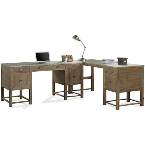 Riverside Furniture Liam Industrial L-Shaped Desk with Drop Front Keyboard Drawer and File Storage