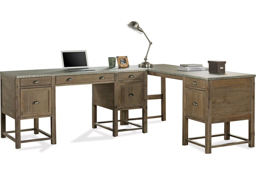 Liam L Shaped Desk With Drop Front Keyboard Drawer And File Storage By Riverside Furniture At Dunk Bright