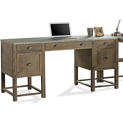 Riverside Furniture Liam Industrial Writing Desk with Drop Front Keyboard Drawer and File Storage