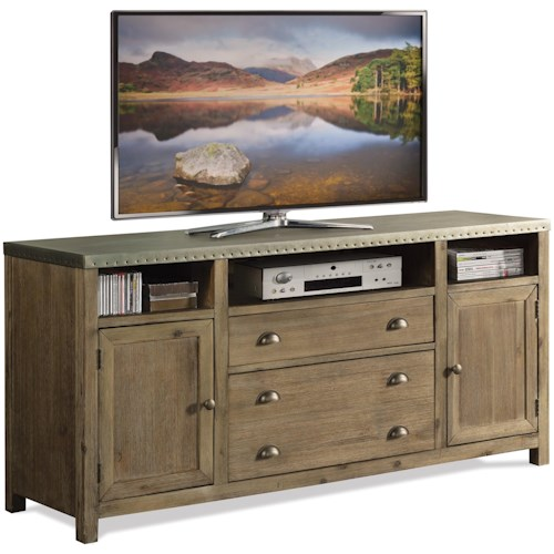 Riverside Furniture Liam Industrial 64 Inch TV Console with Metal Top