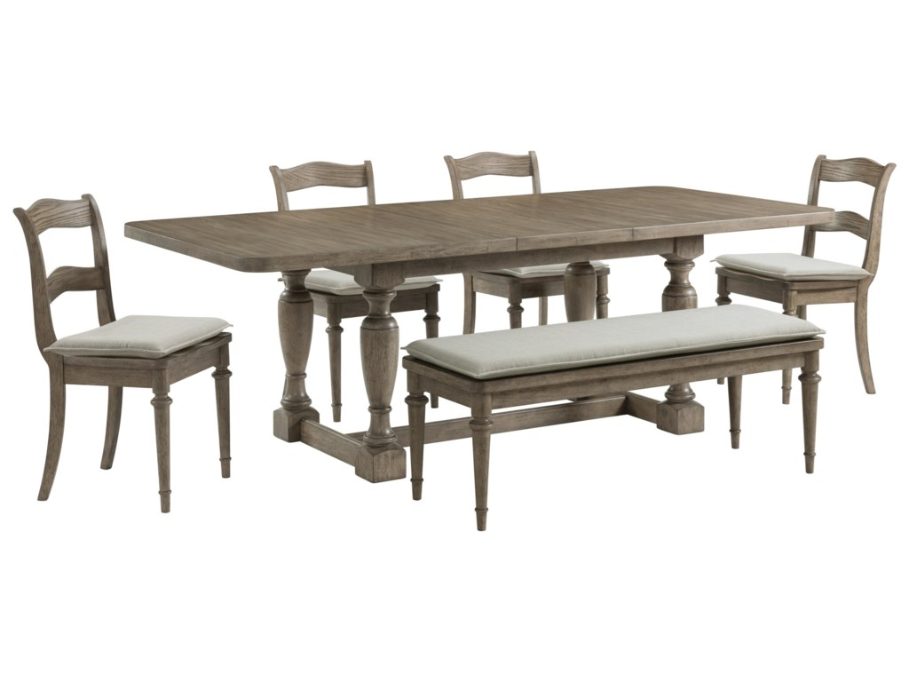 Riverside Furniture Louis FarmhouseSix-Piece Formal Dining Set with Bench