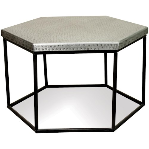 Riverside Furniture Lyric Hammered Metal Hexagon Coffee Table - Hexagon cocktail table