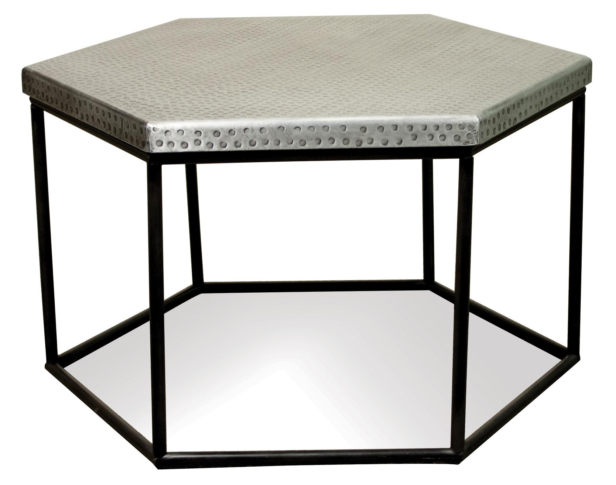 Genial Riverside Furniture Lyric Hammered Metal Hexagon Coffee Table