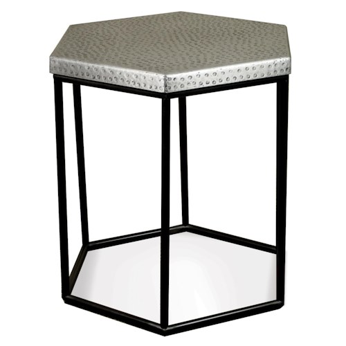Riverside Furniture Lyric Industrial Hexagon Side Table