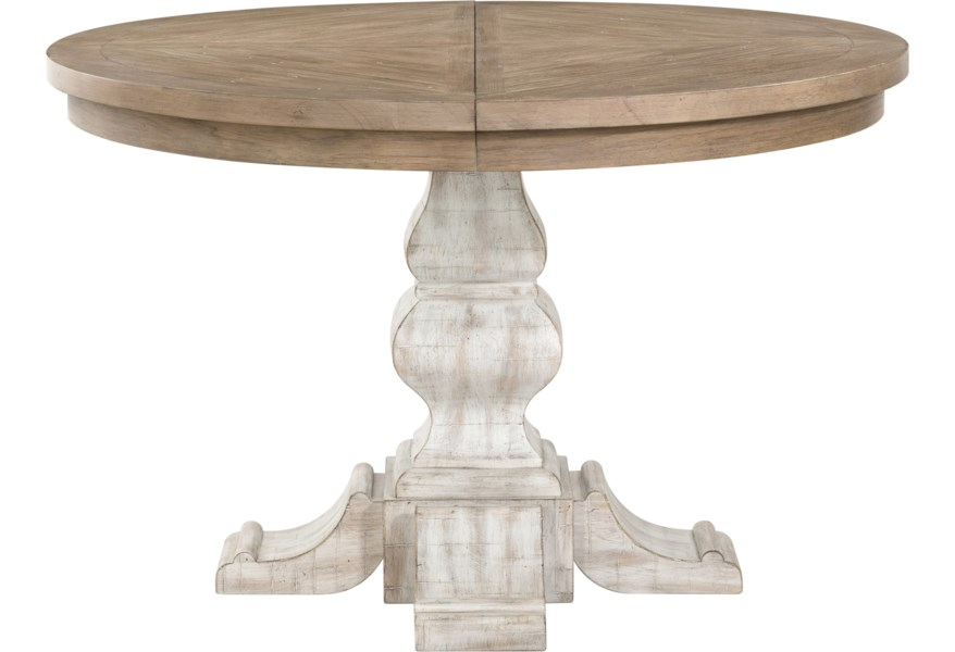 Madison Farmhouse Round Pedestal Dining Table by Riverside Furniture at  Dunk & Bright Furniture