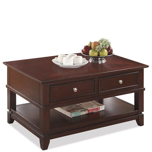 Riverside Furniture Marlowe Coffee Table with 2 Drawers and 1 Lower Shelf