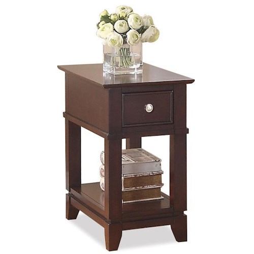 Riverside Furniture Marlowe Chairside Table with 1 Drawer and 1 Lower Shelf