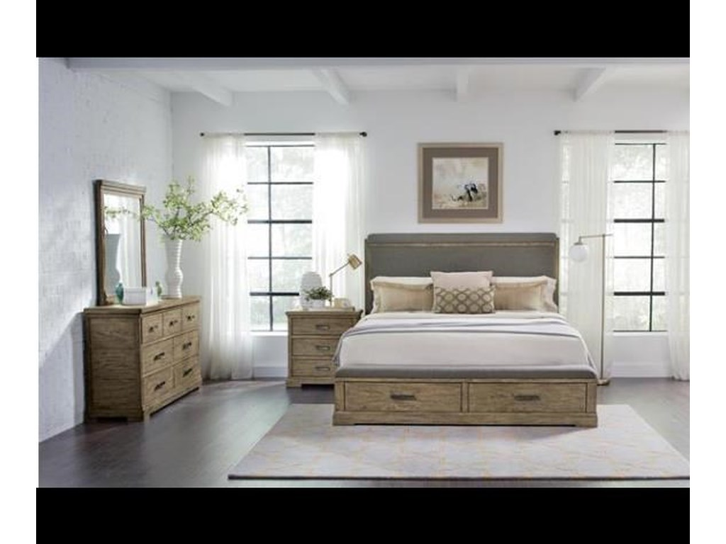 Riverside Furniture Milton ParkQueen Upholstered Bed with Storage