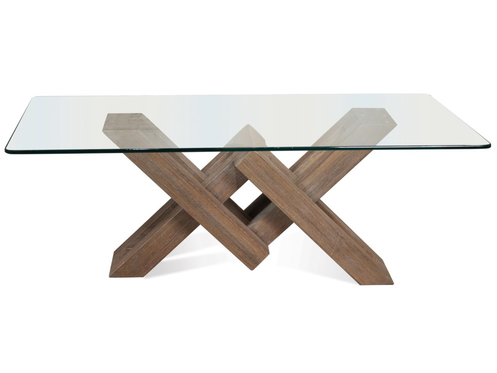 Riverside Furniture Mirabelle Glass Top Coffee Table With Geometric - Geometric base coffee table
