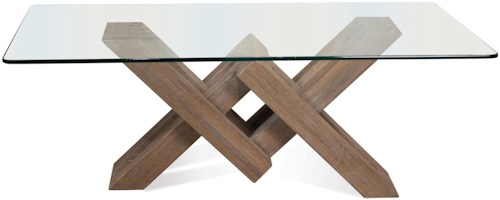 Riverside Furniture Mirabelle Glass Top Coffee Table with Geometric Base