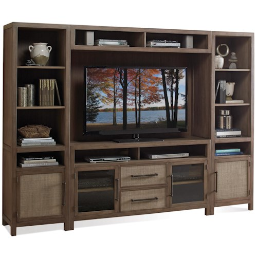 Riverside Furniture Mirabelle Entertainment Wall Unit in Ecru Finish