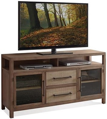 Riverside Furniture Mirabelle Entertainment Console with Woven Cane Drawer Fronts
