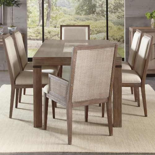 Riverside Furniture Mirabelle 7 Piece Marble Insert Table and Chair Set