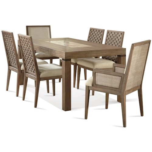 Riverside Furniture Mirabelle 7 Piece Marble Insert Table and Lattice Back Chair Set