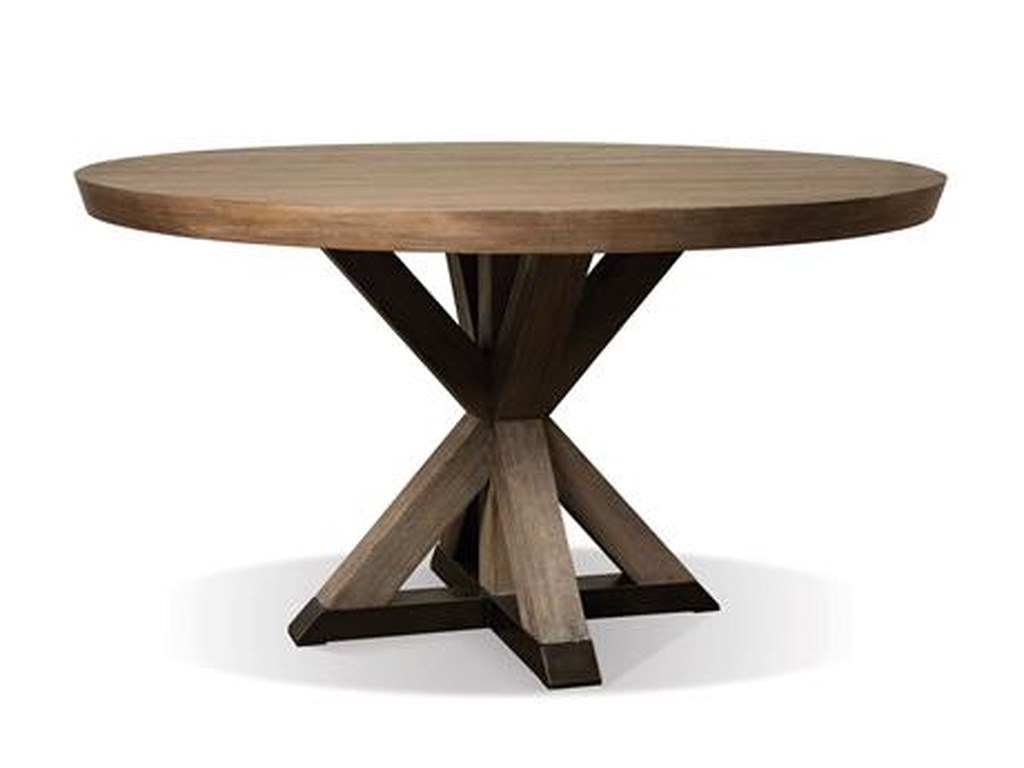 Mirabelle Round Dining Table With Geometric Pedestal Base By Riverside Furniture