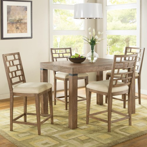 Riverside Furniture Mirabelle 5 Piece Counter Height Table and Lattice Back Chair Set
