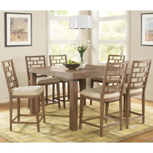 Riverside Furniture Mirabelle 7 Piece Counter Height Table and Lattice Back Chair Set