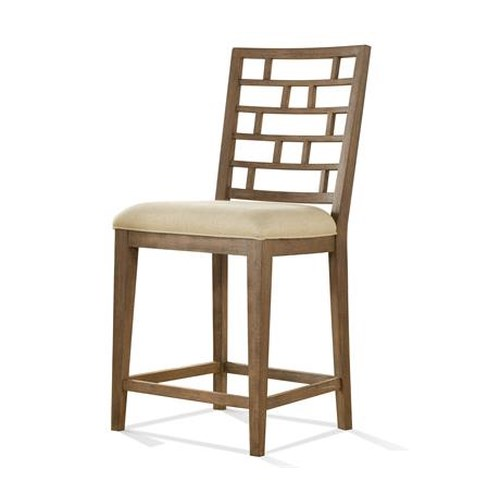 Riverside Furniture Mirabelle Upholstered Counter Height Stool with Lattice Back