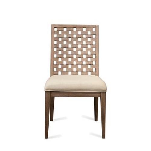 Riverside Furniture Mirabelle Block Back Upholstered Side Chair in Ecru Finish