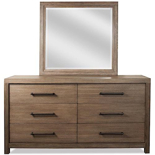 Riverside Furniture Mirabelle 6 Drawer Dresser and Landscape Mirror Combo