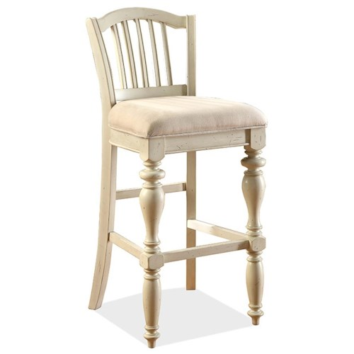 Riverside Furniture Mix-N-Match Chairs Barstool w/ Upholstered Seat & Turned Legs